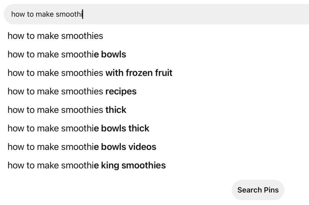 Pinterest keyword research for finding blog post ideas